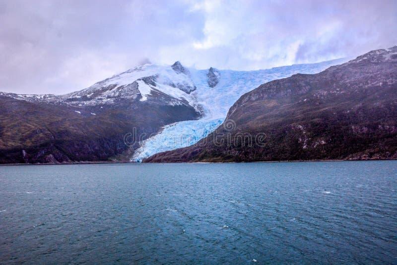 Geleira Italia em Tierra del Fuego, o Chile fotografia de stock