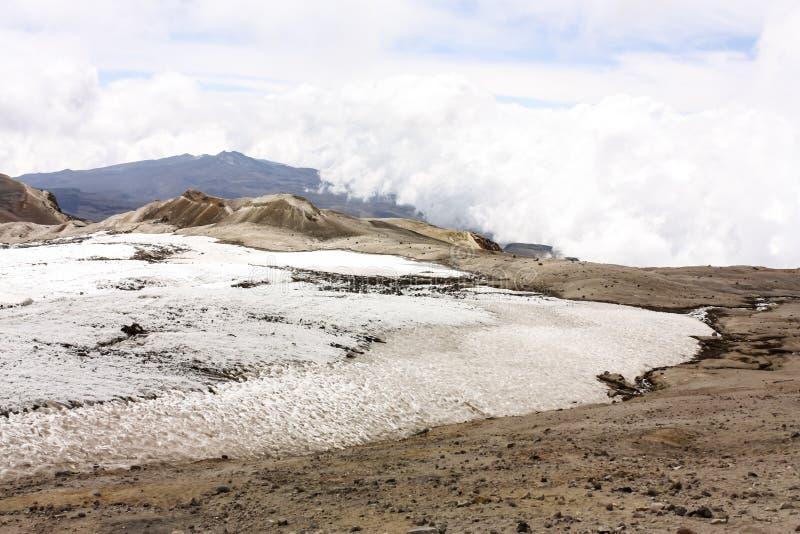Geleira Volcano Nevado del Ruiz, Colômbia fotografia de stock royalty free