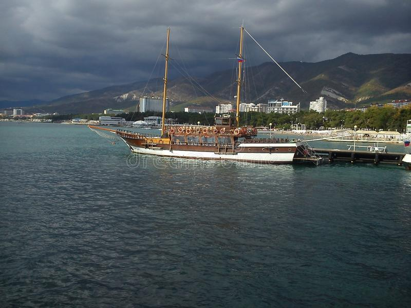 Gelendzghik市,船,黑海 库存图片