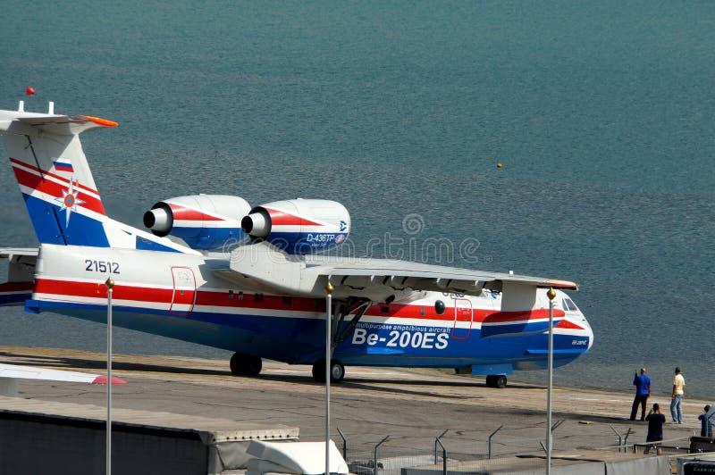 Gelendzhik, Russia - settembre 5,2018: Aerei anfibi multiuso di Be-200ES su Hydroaviasalon 2018 immagini stock