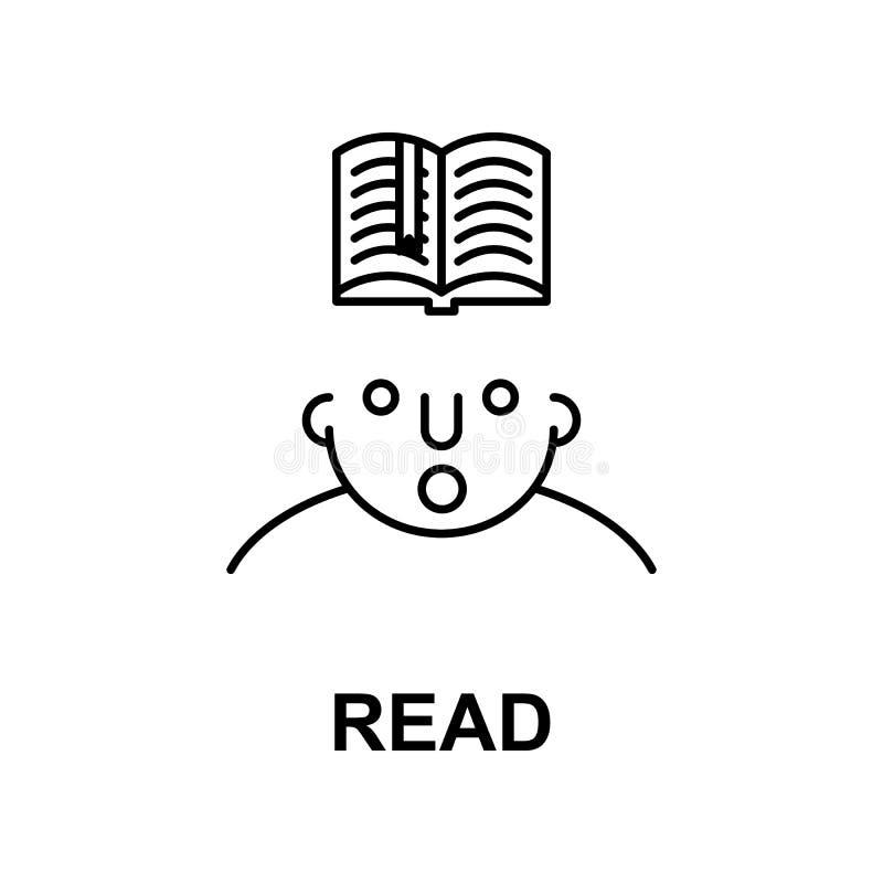 gelesen auf Sinnesikone Element der Menschenverstandikone für bewegliche Konzept und Netz apps Die dünne Linie, die auf Sinnesiko stock abbildung