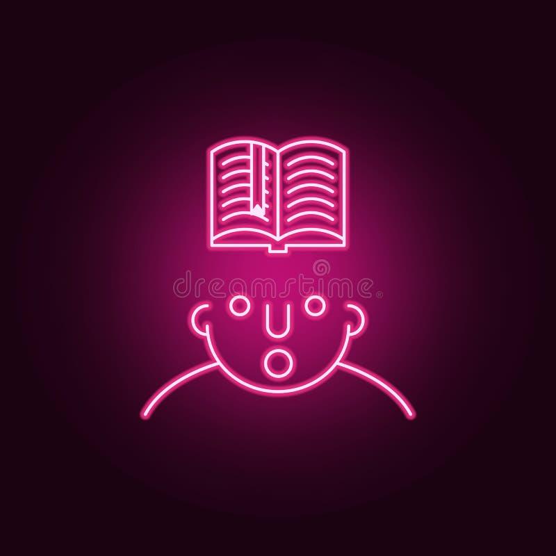 gelesen auf Sinnesikone Elemente von, was in Ihrem Verstand in den Neonartikonen ist Einfache Ikone für Website, Webdesign, mobil stock abbildung