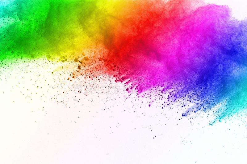 Gelez le mouvement des explosions colorées de poudre d'isolement sur le fond blanc illustration de vecteur