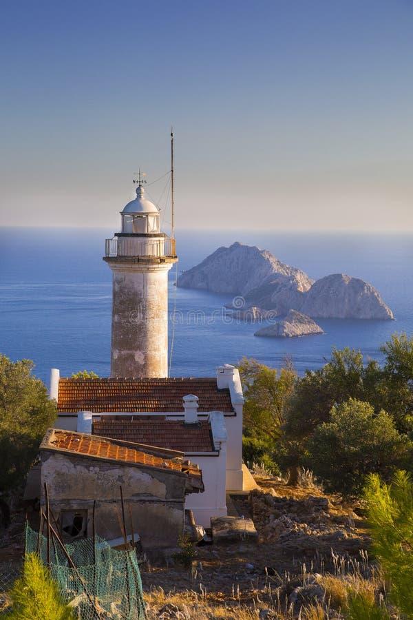 Gelidonyavuurtoren dichtbij Middellandse Zee in Adrasan Antalya Turkije 2014 stock foto's