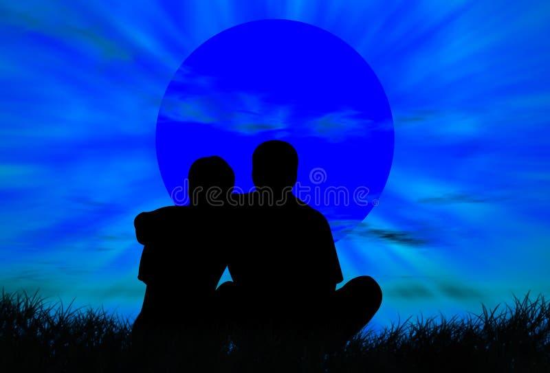 Geliebte am Sonnenuntergang lizenzfreie abbildung