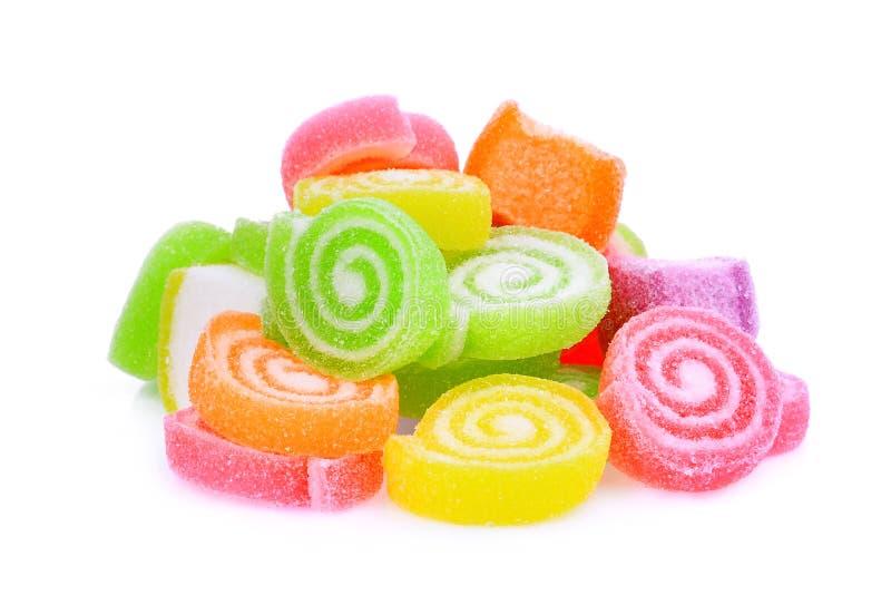 Gelieren Sie den Bonbon, Aromafrucht oder Süßigkeitsnachtisch, die mit Zucker bunt sind stockbild