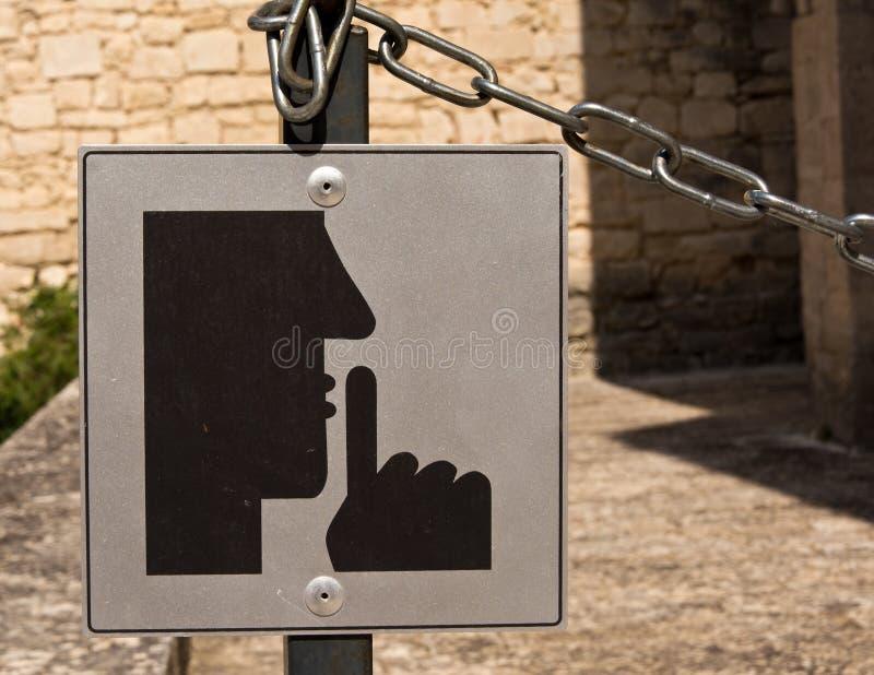 Gelieve te brengen teken tot zwijgen royalty-vrije stock afbeelding
