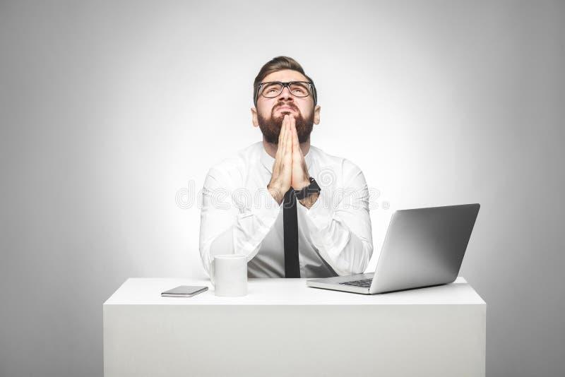 Gelieve te helpen! Het portret van hoopvolle gebaarde jonge manager in wit overhemd en de avondkleding zitten in bureau en vragen royalty-vrije stock foto's