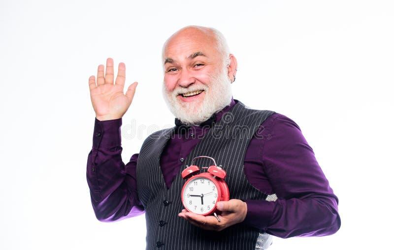 Gelieve te nemen tijd waar Vector moderne illustratie in vlakke stijl met de mannelijke chronometer van de handholding Opstarten  stock foto's