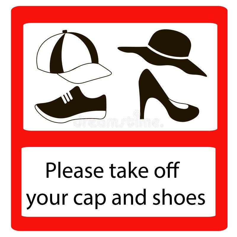 Gelieve te stijgen GLB en schoenentekens op stock illustratie