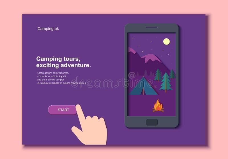 Gelijk makend kamp met een brand en van een tentpijnboom bos en rotsachtige bergen in een mobiele telefoon met dien document besn royalty-vrije illustratie