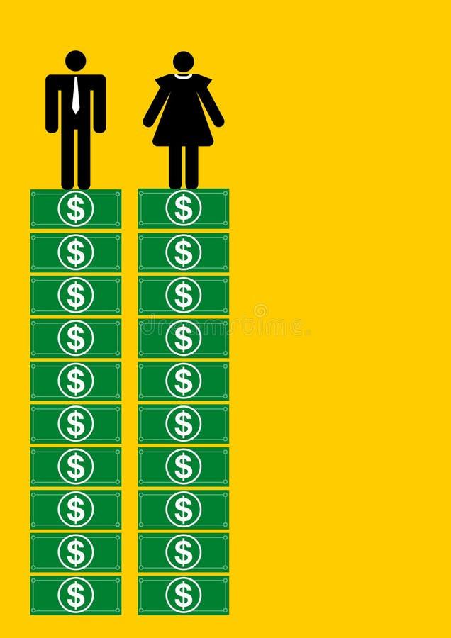 Gelijk salaris voor de mens en vrouw stock illustratie