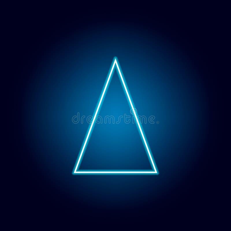 gelijkbenig driehoekspictogram in neonstijl Geometrisch cijferelement voor mobiel concept en Web apps Dun lijnpictogram voor webs royalty-vrije illustratie