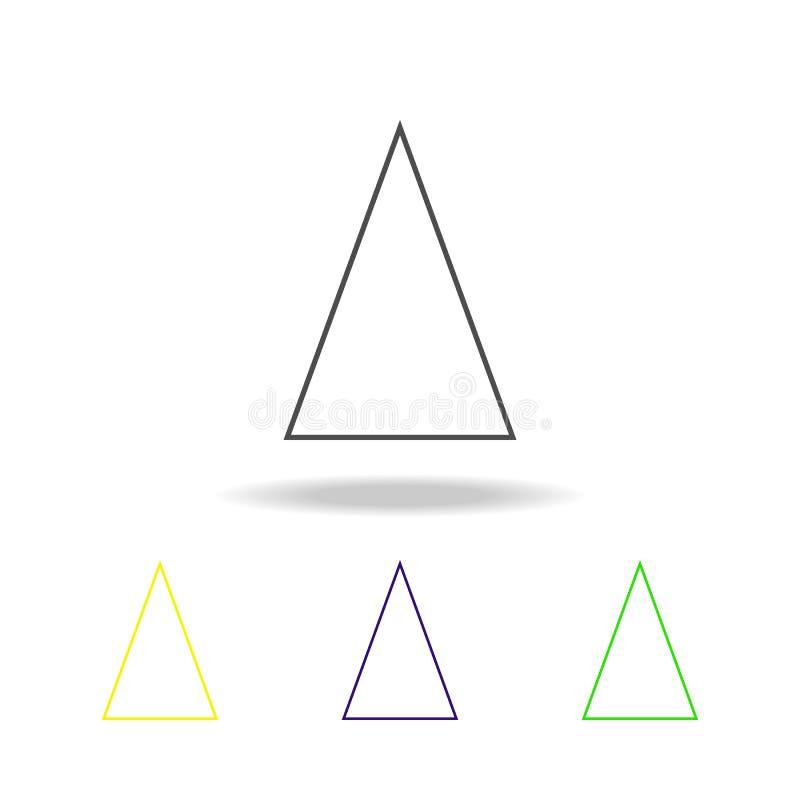 gelijkbenige driehoek gekleurd pictogram Kan voor Web, embleem, mobiele toepassing, UI, UX worden gebruikt royalty-vrije illustratie