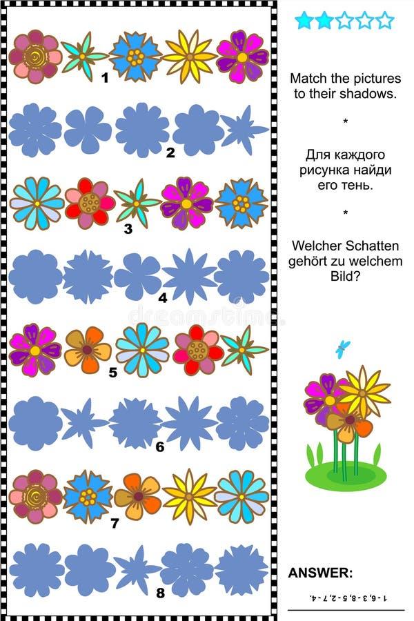 Gelijke aan het visuele raadsel van schaduw flowerheads rijen stock illustratie