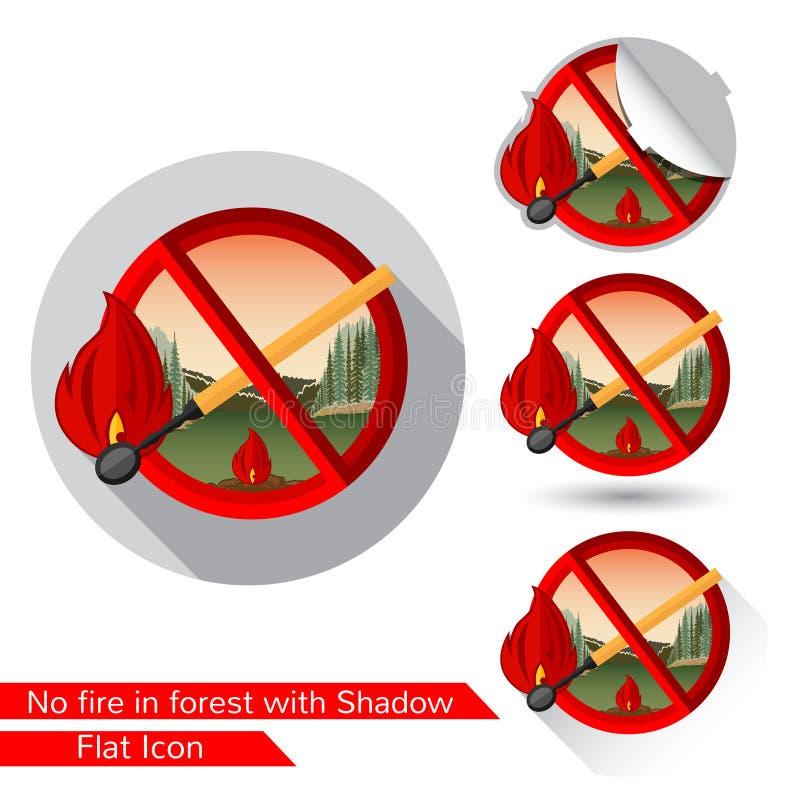 Gelijke in rode cirkel Reeks pictogrammen van de waarschuwingsbrand in vlakke stijl met verschillende schaduw stock illustratie