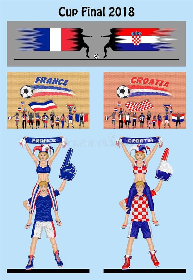 Gelijke van het kop de definitieve 2018 voetbal tussen de voetbal van Frankrijk en van Kroatië royalty-vrije illustratie