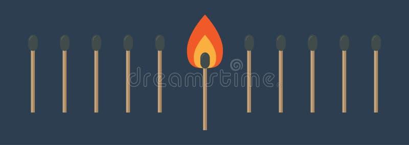 Gelijke vastgestelde lijn met één het branden oranje brandlicht Vlakke ontwerpstijl Achtergrond voor een uitnodigingskaart of een royalty-vrije illustratie