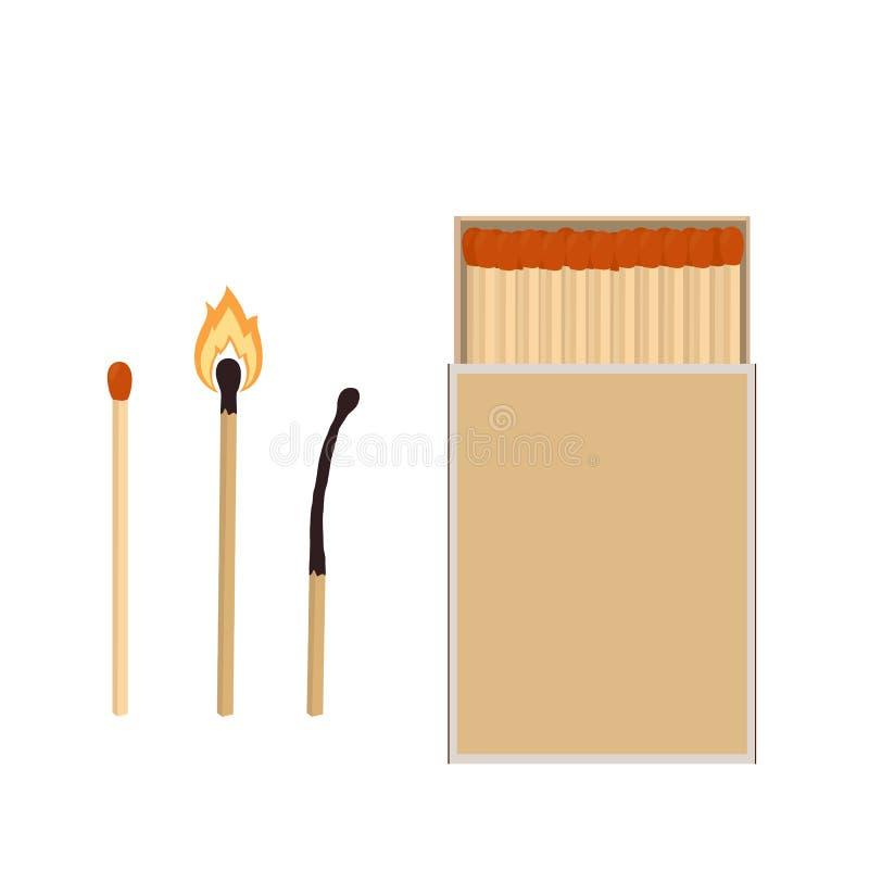 Gelijken Lucifersdoosje, brandende gelijke en gebrande gelijke Vector illustratie vector illustratie
