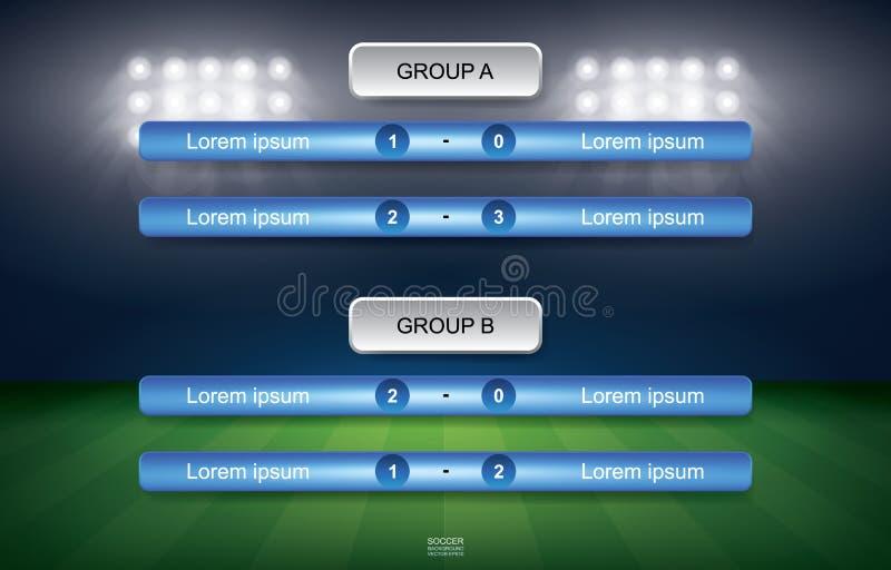 Gelijkeprogramma van de kop van de voetbalvoetbal met stadionachtergrond vector illustratie