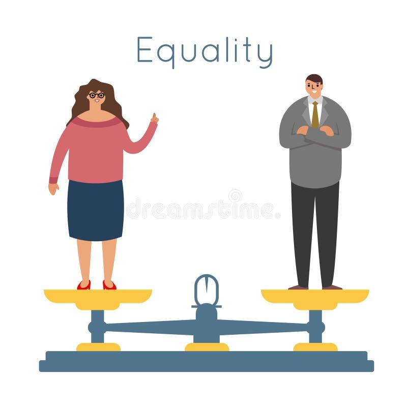 Gelijkheidsmannen de vrouwen evenaren van het saldoschalen van rechten mannelijke vrouwelijke karakters van het de wegersconcept  vector illustratie