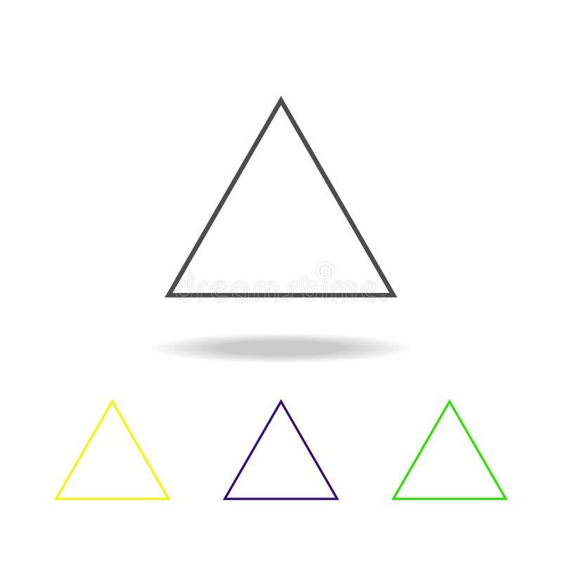 gelijkzijdig driehoek gekleurd pictogram Kan voor Web, embleem, mobiele toepassing, UI, UX worden gebruikt stock illustratie