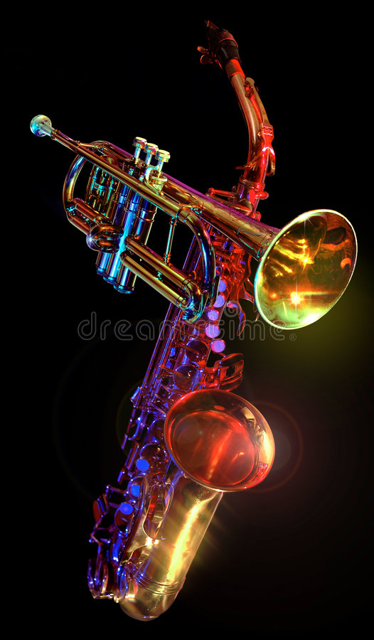 gelled trumpet saxaphone стоковые фото