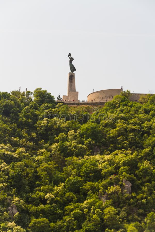 Gellert Hill and Liberty or Freedom Statue. View of Liberty or Freedom Statue in Budapest, Hungary, with copyspace stock image