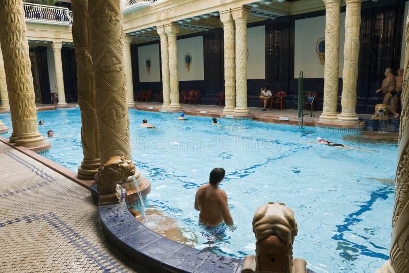Gellertbaden, binnenpool & thermische baden stock fotografie