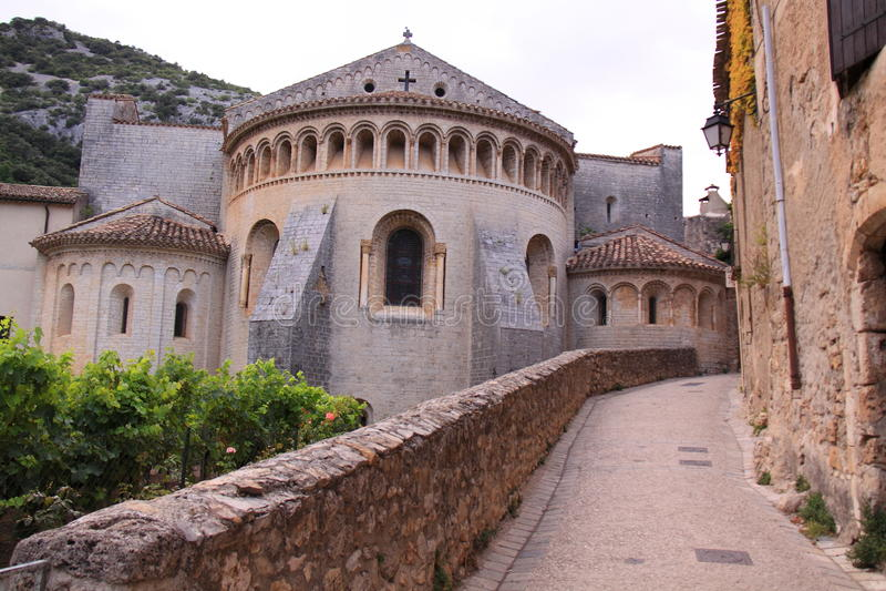 Gellone Abbey St. Guilhem-le-desert stock photography
