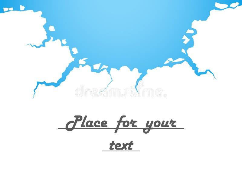 Gelo branco, quebras, água azul A destruição, o abismo Ilustração do vetor com espaço para seu texto ilustração stock
