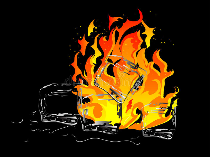 Gelo e incêndio ilustração royalty free