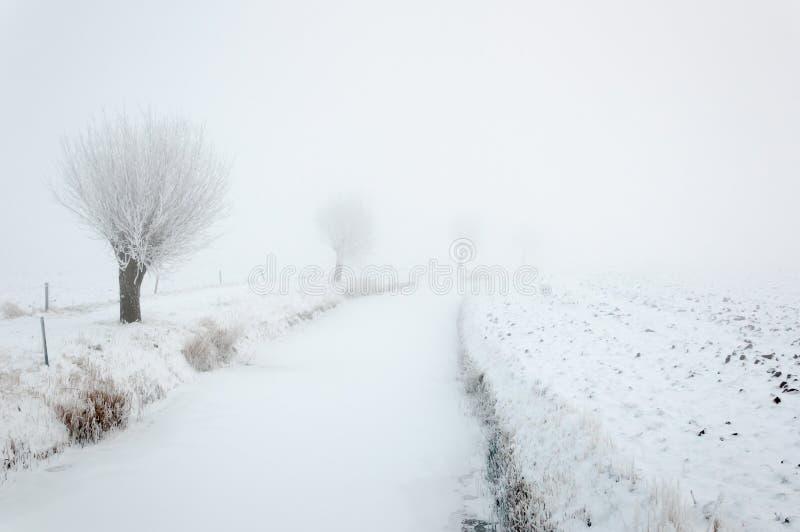 Gelo e neve em uma vala infinita foto de stock