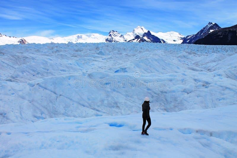 Gelo grande que caminha o turista, Perito Moreno Glacier Santa Cruz Argentina imagens de stock