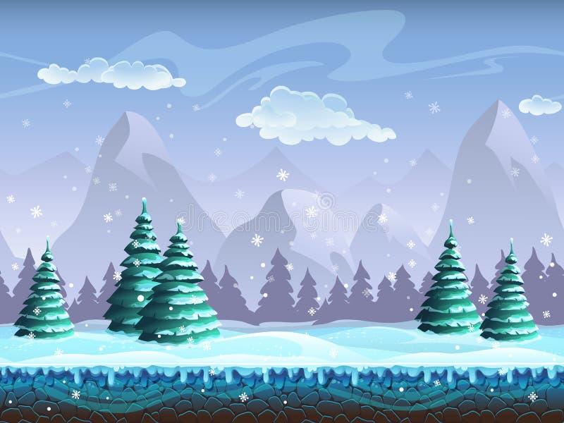 Gelo infinito do fundo sem emenda da paisagem do inverno dos desenhos animados, neve h ilustração royalty free