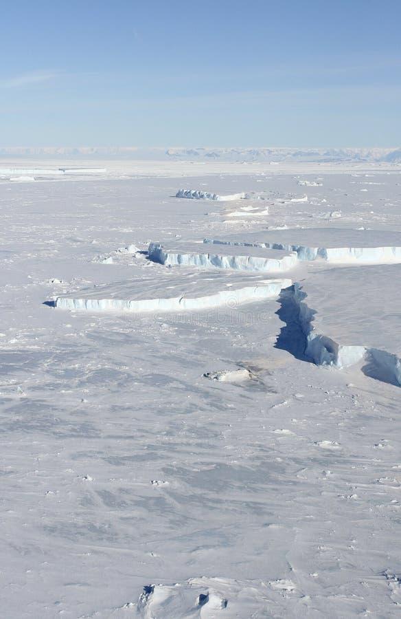 Gelo marinho em Continente antárctico foto de stock