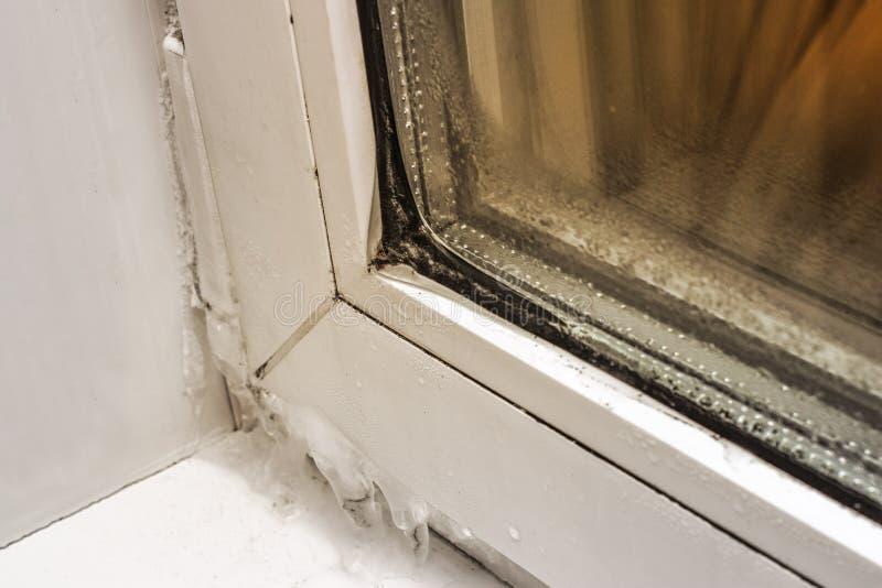 Gelo no close-up, na parte dianteira e no fundo plásticos da janela borrados com efeito do bokeh imagem de stock royalty free