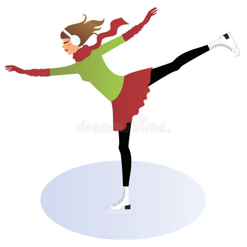 Gelo-patinagem da mulher nova ilustração stock
