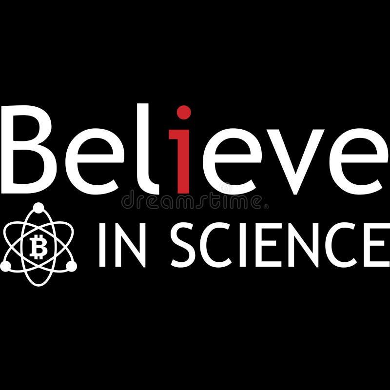 Geloof in het ontwerp van de wetenschapstypografie voor allen vector illustratie
