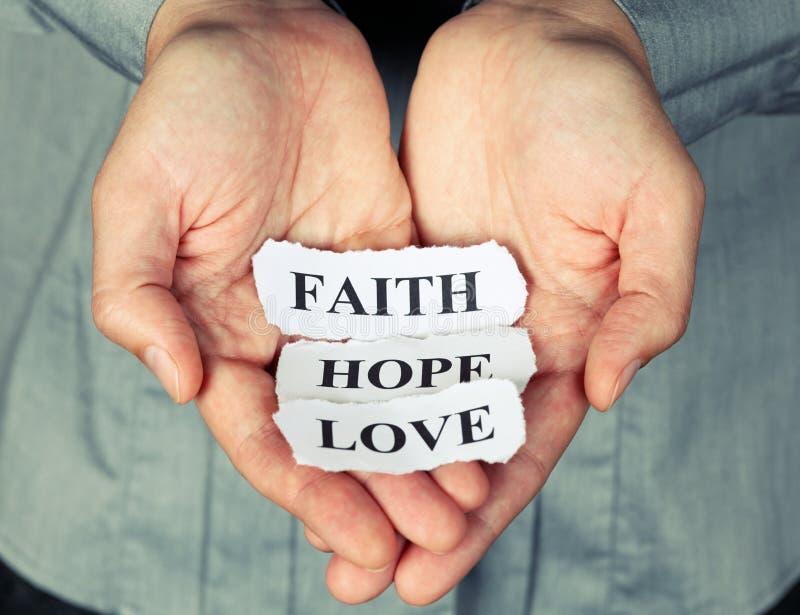 Geloof, hoop en liefde stock foto's