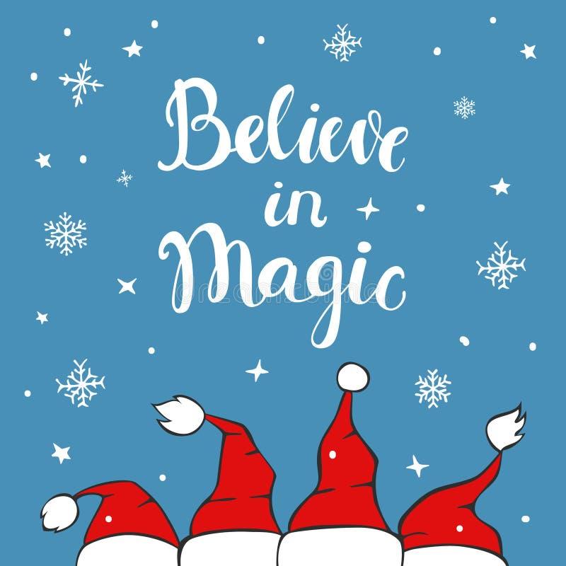 Geloof in magische Kerstmis achtergrondgroetkaart royalty-vrije illustratie