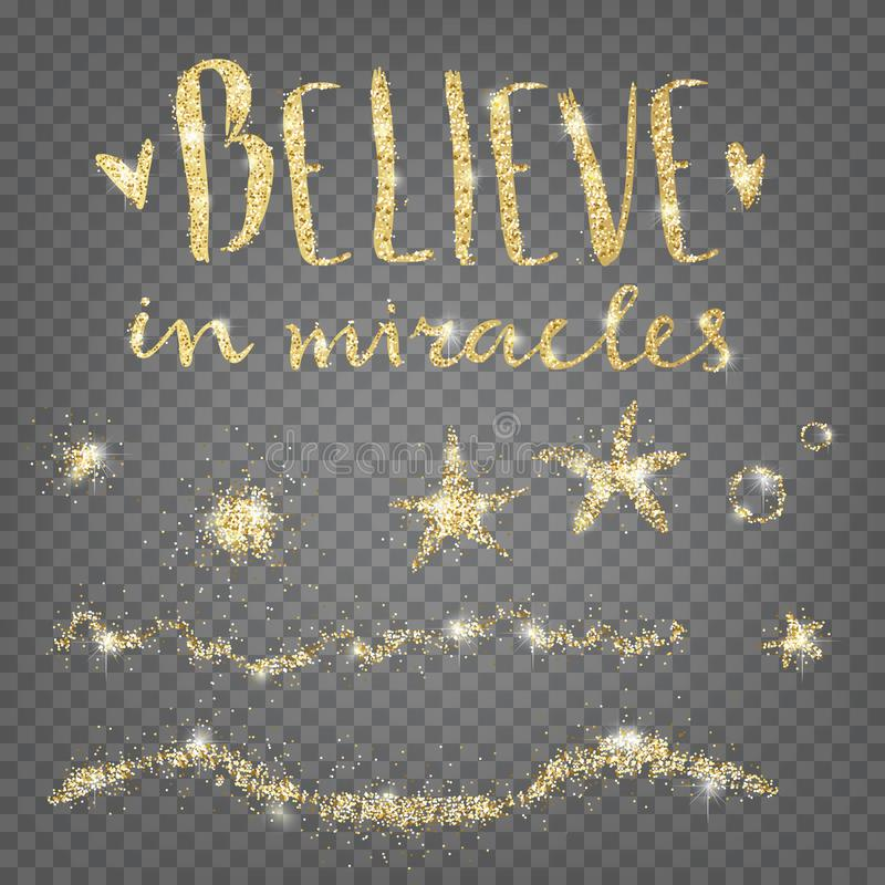 Geloof in Mirakelen Gouden glanzende decoratieve elementen Sterren, wa vector illustratie