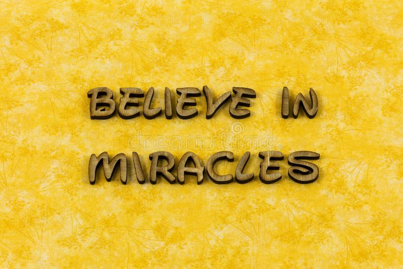 Geloof van de het geloofs geestelijk vreugde van de mirakeldroom letterzetseltype stock fotografie