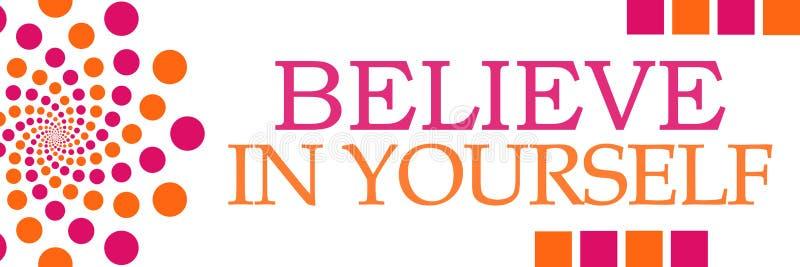 Geloof in zich Roze Oranje Dots Horizontal royalty-vrije illustratie