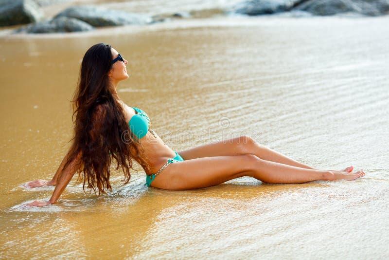 Gelooide donkerbruine zitting op het strand royalty-vrije stock foto