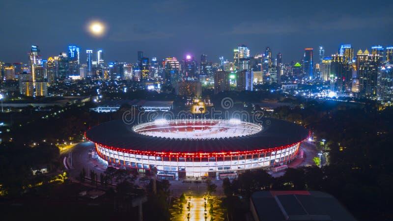 Gelora桶盖karno美丽的景色在晚上 免版税库存图片