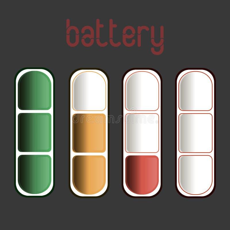 Geloste en volledig geladen infographic batterijsmartphone - Op witte achtergrond stock fotografie