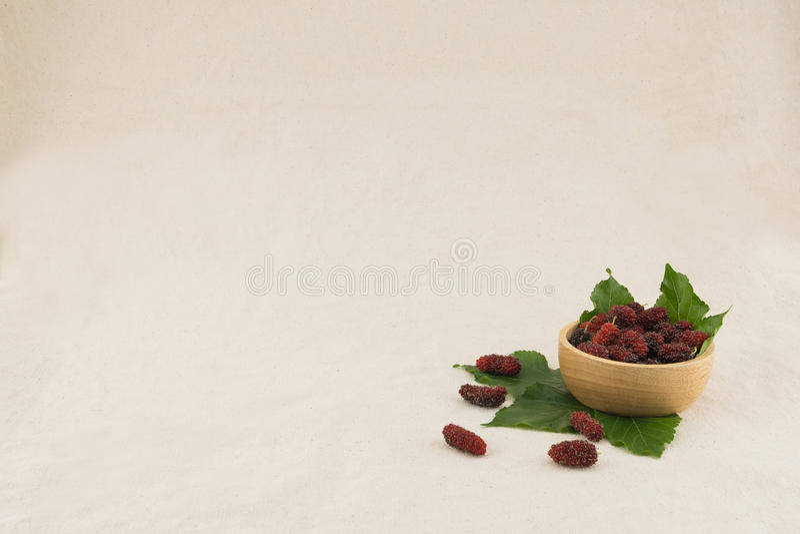 Gelsi e foglie in ciotola marrone immagine stock