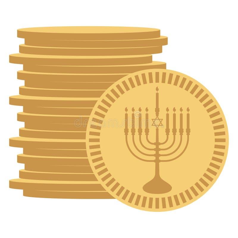 gelt Hanukkah royalty ilustracja
