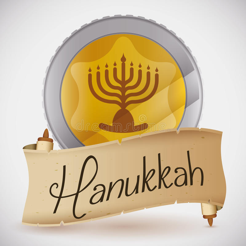 Gelt with Hanukkah Message in Scroll, Vector Illustration stock photography